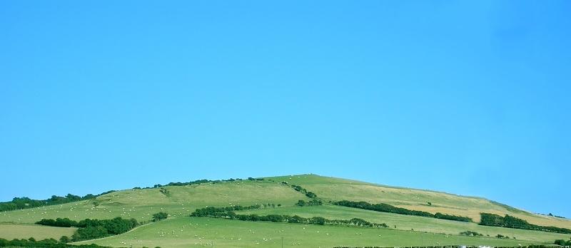Zielone wzgórze pod błekitnym niebem Fot. Freeimages