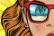 Grafika przedstawiająca dziewczynę i odbicie plaży w jej okularach